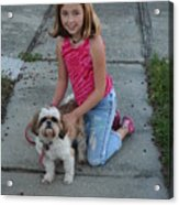 Girl And Her Dog Acrylic Print