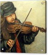 Girl And Her Violin Acrylic Print