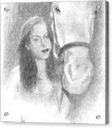 Girl And Horse Acrylic Print