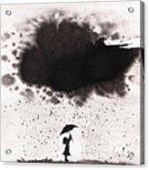 Girl And Ink Cloud Rain Acrylic Print