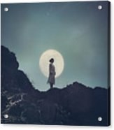 Girl And The Moon Acrylic Print