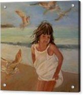 Girl And The Seagulls Acrylic Print