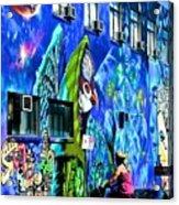 Girl And The Wall Acrylic Print