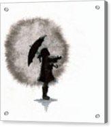 Girl And Umbrella Acrylic Print