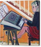 Girl At Keyboard Acrylic Print
