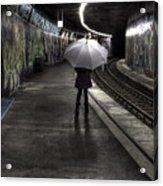 Girl At Subway Station Acrylic Print