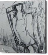 Girl At The Garden Acrylic Print