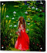Girl By Lily Pond Acrylic Print
