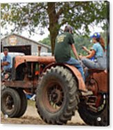 Girl Driving A Tractor Acrylic Print