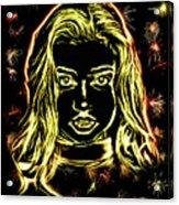 Girl Fireworks Acrylic Print