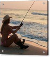 Girl Fishing Acrylic Print
