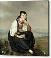 Girl From Hessen In Traditional Dress Acrylic Print