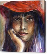 Girl In A Red Hat Portrait Acrylic Print