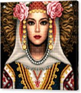 Girl In Bulgarian National Costume Acrylic Print