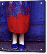Girl In Colorful Flower Dress Acrylic Print