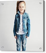 Girl In Jeans Clothes On White Background. Acrylic Print