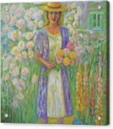 Girl In Monet's Garden At Giverny Acrylic Print