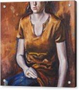 Girl In Orange Acrylic Print
