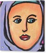 Girl In Purple Scarf Acrylic Print