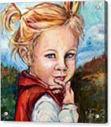 Girl In Red Jumper Acrylic Print