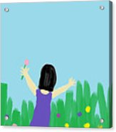 Girl In The Field Of Flowers Acrylic Print