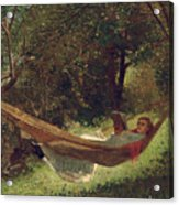 Girl In The Hammock Acrylic Print by Winslow Homer