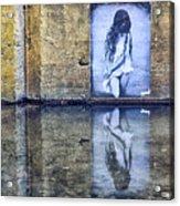 Girl In The Mural Acrylic Print