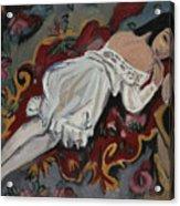 Girl In White Chemise Acrylic Print