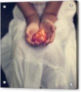 Girl Is Holding A Heart Acrylic Print