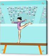 Girl Jumps On One Foot On The Balance Beam Acrylic Print