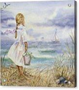 Girl And Ocean Watercolor Acrylic Print