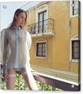 Girl On Balcony Acrylic Print