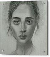 Girl On Canvas Acrylic Print