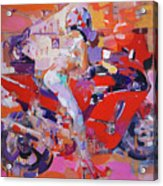 Girl On Red Bike Acrylic Print