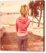 Girl On Redcliffe Travel Holiday Acrylic Print
