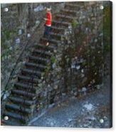 Girl On Stairs Acrylic Print