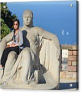 Girl On Statue Mt. Juic Barcelona Acrylic Print