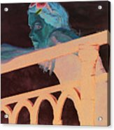 Girl On The Rail Acrylic Print