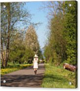Girl On Trail In Straw Hat Acrylic Print