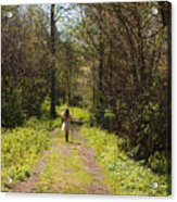 Girl On Trail With Walking Stick Acrylic Print