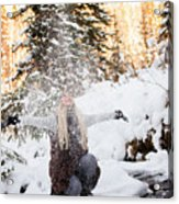Girl Playing In The Snow In The Woods Acrylic Print