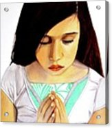 Girl Praying Drawing Portrait By Saribelle Acrylic Print