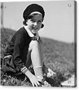 Girl Putting On Roller Skates, C.1930s Acrylic Print