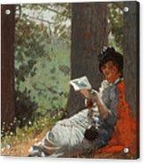 Girl Reading Under An Oak Tree Acrylic Print
