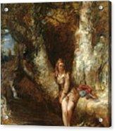 Girl Seated Beside A Woodland Pool Acrylic Print