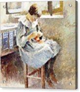 Girl Sewing Acrylic Print