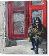 Girl Sitting At Red Doorstep Acrylic Print
