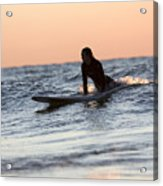 Surfer Girl Trying To Catch A Wave Acrylic Print