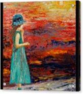 Girl Watching Sunset Acrylic Print