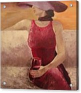 Girl With A Glass Acrylic Print